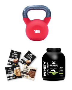 16kg Kettlebell + PAS 100% Chocolate Whey + 4 Tasty Protein Snacks