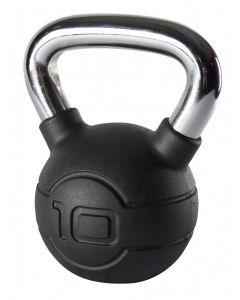 Jordan 10kg Black Rubber kettlebell with Chrome Handle