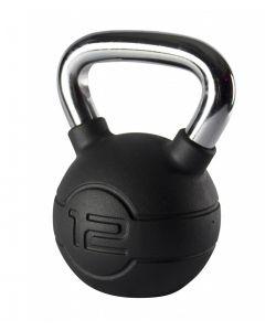 Jordan 12kg Black Rubber kettlebell with Chrome Handle
