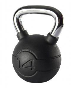 Jordan 14kg Black Rubber kettlebell with Chrome Handle