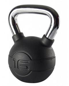 Jordan 16kg Black Rubber kettlebell with Chrome Handle