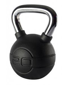 Jordan 20kg Black Rubber kettlebell with Chrome Handle