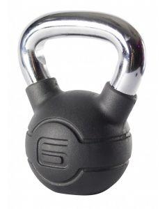 Jordan 6kg Black Rubber kettlebell with Chrome Handle