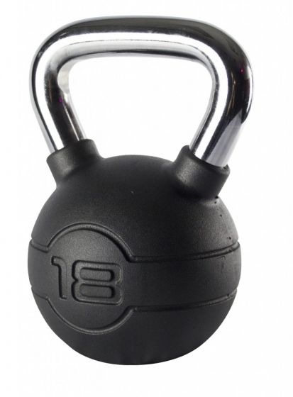 Jordan 18kg Black Rubber kettlebell with Chrome Handle