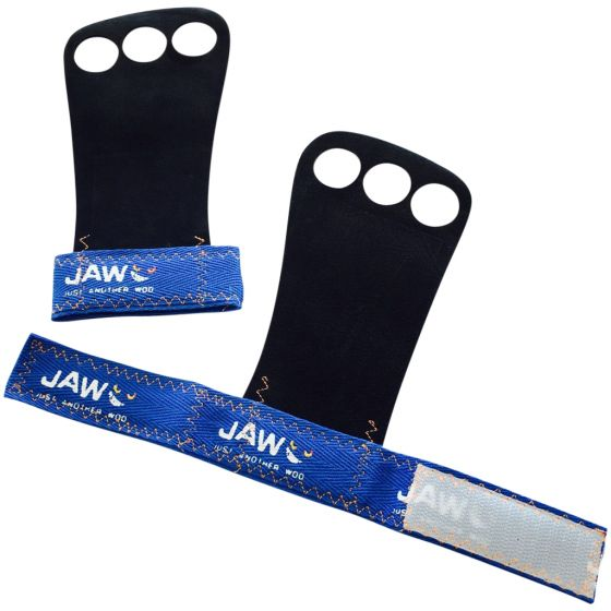 Jaw Leather Pullup Grips Blue