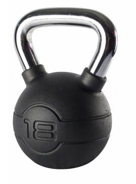 Jordan 18kg Black Rubber kettlebell with Chrome Handle