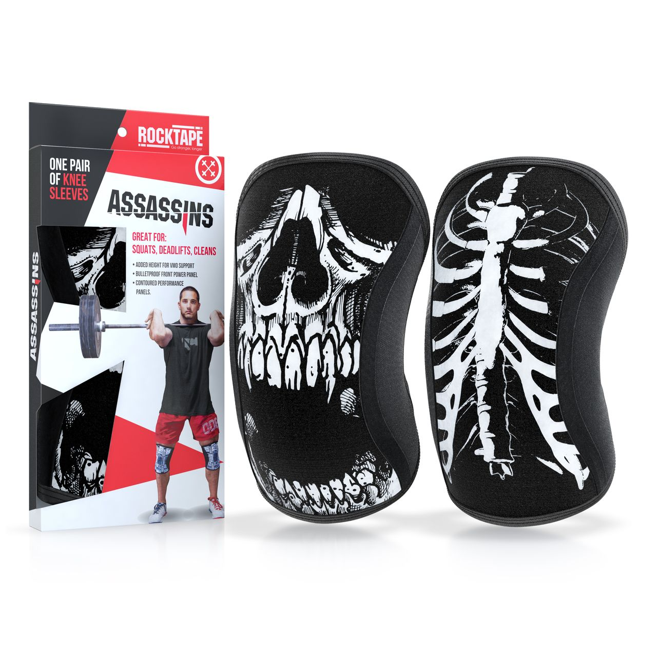 4d38535b95c3b Rocktape Knee Sleeves - Skull Assassins - 7mm