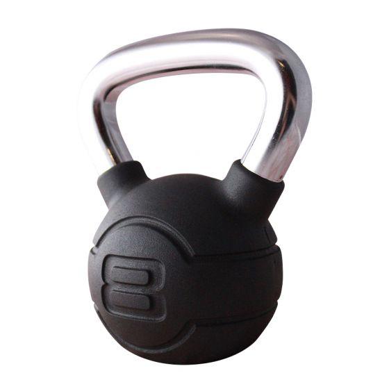 Jordan 8kg Black Rubber kettlebell with Chrome Handle