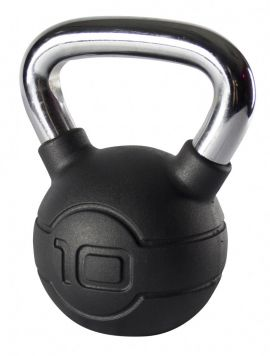 Jordan 10kg Black Rubber kettlebell with Chrome Handle
