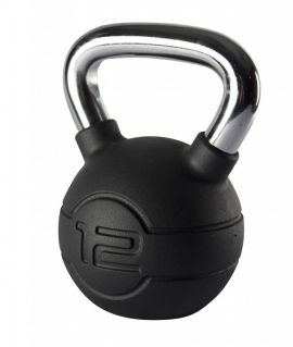 Jordan 12kg Black Rubber kettlebell with Chrome Handle