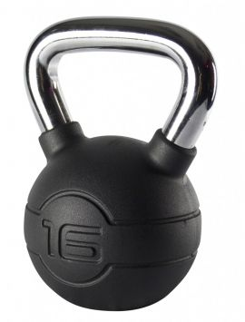 Jordan 16kg Black Rubber kettlebell with Chrome Handle