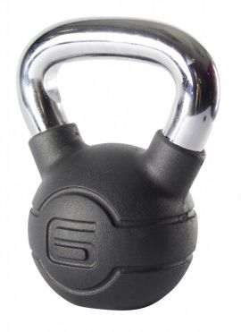 Jordan 6kg Black Rubber kettlebell with Chrome Handle