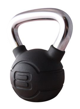 Jordan 8kg Black Rubber kettlebell with Chrome Handle